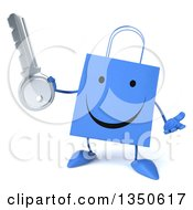 Clipart Of A 3d Happy Blue Shopping Or Gift Bag Character Holding A Key And Shrugging Royalty Free Illustration