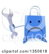 Clipart Of A 3d Unhappy Blue Shopping Or Gift Bag Character Holding Up A Wrench Royalty Free Illustration