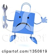 Clipart Of A 3d Unhappy Blue Shopping Or Gift Bag Character Holding A Wrench And Jumping Royalty Free Illustration