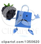 Clipart Of A 3d Unhappy Blue Shopping Or Gift Bag Character Holding A Blackberry And Jumping Royalty Free Illustration