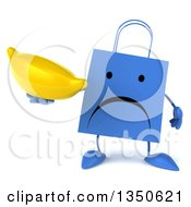 Clipart Of A 3d Unhappy Blue Shopping Or Gift Bag Character Holding A Banana Royalty Free Illustration