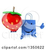 Clipart Of A 3d Happy Blue Shopping Or Gift Bag Character Holding Up A Thumb And A Strawberry Royalty Free Illustration by Julos
