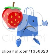 Clipart Of A 3d Unhappy Blue Shopping Or Gift Bag Character Holding A Strawberry And Jumping Royalty Free Illustration by Julos