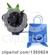 Clipart Of A 3d Happy Blue Shopping Or Gift Bag Character Holding Up A Blackberry Royalty Free Illustration