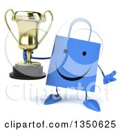 Clipart Of A 3d Happy Blue Shopping Or Gift Bag Character Holding A Trophy And Shrugging Royalty Free Illustration