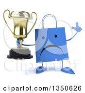 Clipart Of A 3d Unhappy Blue Shopping Or Gift Bag Character Holding Up A Finger And A Trophy Royalty Free Illustration by Julos