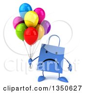 Clipart Of A 3d Unhappy Blue Shopping Or Gift Bag Character Holding Party Balloons Royalty Free Illustration