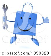 Clipart Of A 3d Happy Blue Shopping Or Gift Bag Character Holding A Wrench And Jumping Royalty Free Illustration