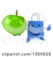 Clipart Of A 3d Happy Blue Shopping Or Gift Bag Character Holding Up A Green Apple And A Thumb Royalty Free Illustration