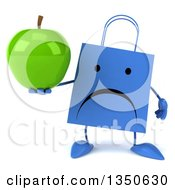 Clipart Of A 3d Unhappy Blue Shopping Or Gift Bag Character Holding A Green Apple Royalty Free Illustration