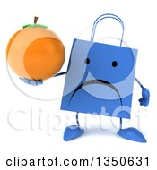 Clipart Of A 3d Unhappy Blue Shopping Or Gift Bag Character Holding A Navel Orange Royalty Free Illustration