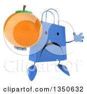 Clipart Of A 3d Unhappy Blue Shopping Or Gift Bag Character Holding A Navel Orange And Jumping Royalty Free Illustration