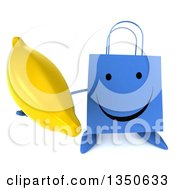 Clipart Of A 3d Happy Blue Shopping Or Gift Bag Character Holding Up A Banana Royalty Free Illustration