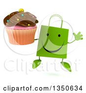Clipart Of A 3d Happy Green Shopping Or Gift Bag Character Jumping And Holding A Chocolate Frosted Cupcake Royalty Free Illustration by Julos