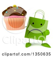 Clipart Of A 3d Unhappy Green Shopping Or Gift Bag Character Holding And Pointing To A Chocolate Frosted Cupcake Royalty Free Illustration by Julos