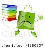 Clipart Of A 3d Unhappy Green Shopping Or Gift Bag Character Holding A Stack Of Books And Jumping Royalty Free Illustration by Julos