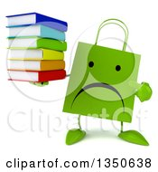 Clipart Of A 3d Unhappy Green Shopping Or Gift Bag Character Holding And Pointing To A Stack Of Books Royalty Free Illustration by Julos