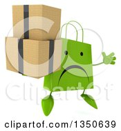 Clipart Of A 3d Unhappy Green Shopping Or Gift Bag Character Holding Boxes And Jumping Royalty Free Illustration by Julos