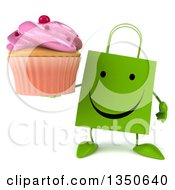 Clipart Of A 3d Happy Green Shopping Or Gift Bag Character Holding A Pink Frosted Cupcake Royalty Free Illustration by Julos