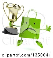 Clipart Of A 3d Unhappy Green Shopping Or Gift Bag Character Holding A Trophy And Jumping Royalty Free Illustration by Julos