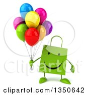 Clipart Of A 3d Happy Green Shopping Or Gift Bag Character Holding Party Balloons Royalty Free Illustration by Julos