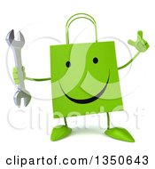 Clipart Of A 3d Happy Green Shopping Or Gift Bag Character Holding Up A Finger And A Wrench Royalty Free Illustration by Julos