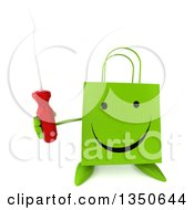 Clipart Of A 3d Happy Green Shopping Or Gift Bag Character Holding Up A Screwdriver Royalty Free Illustration by Julos