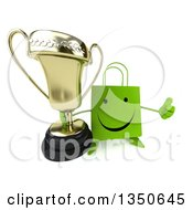 Clipart Of A 3d Happy Green Shopping Or Gift Bag Character Holding Up A Trophy And A Thumb Royalty Free Illustration by Julos