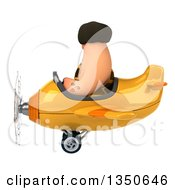 Clipart Of A 3d Caveman Aviator Pilot Flying A Yellow Airplane To The Left Royalty Free Illustration by Julos