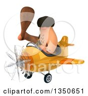 Clipart Of A 3d Caveman Aviator Pilot Holding A Club And Flying A Yellow Airplane To The Left Royalty Free Illustration by Julos
