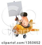 Clipart Of A 3d Caveman Aviator Pilot Holding A Blank Sign And Flying A Yellow Airplane To The Left Royalty Free Illustration by Julos