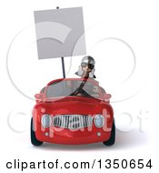 Clipart Of A 3d Young Male Roman Legionary Soldier Wearing Sunglasses Holding A Blank Sign And Driving A Red Convertible Car Royalty Free Illustration