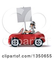 Clipart Of A 3d Young Male Roman Legionary Soldier Wearing Sunglasses Holding A Blank Sign And Driving A Red Convertible Car To The Left Royalty Free Illustration