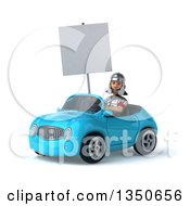 Clipart Of A 3d Young Male Roman Legionary Soldier Holding A Blank Sign And Driving A Blue Convertible Car To The Left Royalty Free Illustration by Julos