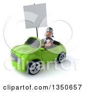 Clipart Of A 3d Young Male Roman Legionary Soldier Holding A Blank Sign And Driving A Green Convertible Car To The Left Royalty Free Illustration by Julos