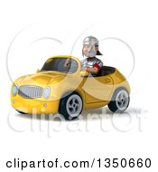 Clipart Of A 3d Young Male Roman Legionary Soldier Driving A Yellow Convertible Car To The Left Royalty Free Illustration by Julos