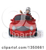 Clipart Of A 3d Young Male Roman Legionary Soldier Wearing Sunglasses Giving A Thumb Down And Driving A Red Convertible Car Royalty Free Illustration by Julos