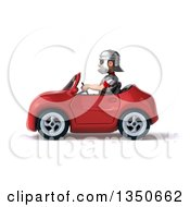 Clipart Of A 3d Young Male Roman Legionary Soldier Wearing Sunglasses And Driving A Red Convertible Car To The Left Royalty Free Illustration by Julos