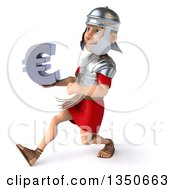 Clipart Of A 3d Young Male Roman Legionary Soldier Holding A Euro Currency Symbol And Speed Walking To The Left Royalty Free Illustration by Julos