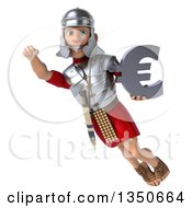 Clipart Of A 3d Young Male Roman Legionary Soldier Holding A Euro Currency Symbol And Flying Royalty Free Illustration by Julos