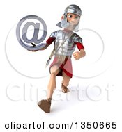 Clipart Of A 3d Young Male Roman Legionary Soldier Holding An Email Arobase At Symbol And Speed Walking Royalty Free Illustration by Julos