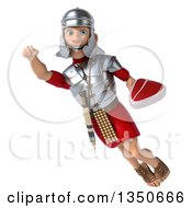 Clipart Of A 3d Young Male Roman Legionary Soldier Holding A Beef Steak And Flying Royalty Free Illustration by Julos