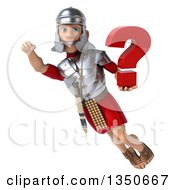 Clipart Of A 3d Young Male Roman Legionary Soldier Holding A Question Mark And Flying Royalty Free Illustration by Julos