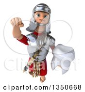 Clipart Of A 3d Young Male Roman Legionary Soldier Holding A Tooth And Flying Royalty Free Illustration by Julos