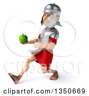 Clipart Of A 3d Young Male Roman Legionary Soldier Holding A Green Apple And Speed Walking To The Left Royalty Free Illustration by Julos