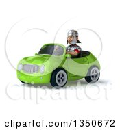 Clipart Of A 3d Young Male Roman Legionary Soldier Driving A Green Convertible Car To The Left Royalty Free Illustration by Julos