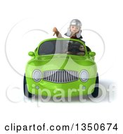 Clipart Of A 3d Young Male Roman Legionary Soldier Giving A Thumb Down And Driving A Green Convertible Car Royalty Free Illustration by Julos