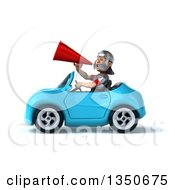 Clipart Of A 3d Young Male Roman Legionary Soldier Using A Megaphone And Driving A Blue Convertible Car To The Left Royalty Free Illustration by Julos