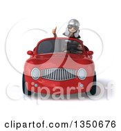 Clipart Of A 3d Young Male Roman Legionary Soldier Wearing Sunglasses Giving A Thumb Up And Driving A Red Convertible Car Royalty Free Illustration by Julos
