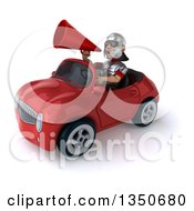 Clipart Of A 3d Young Male Roman Legionary Soldier Wearing Sunglasses Using A Megaphone And Driving A Red Convertible Car To The Left Royalty Free Illustration